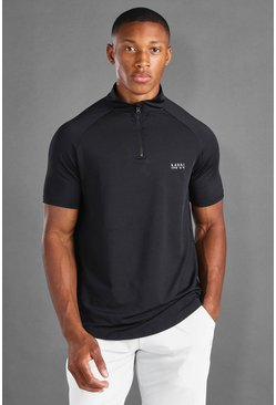 Black MAN Active Zip Short Sleeve T-Shirt