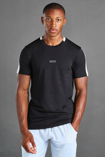 Black MAN Active T-Shirt With Woven Label Detail