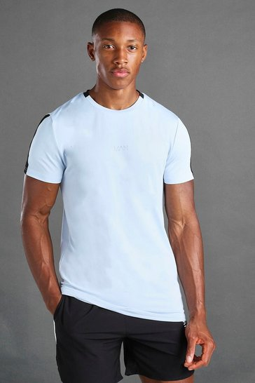 Blue MAN Active T-Shirt With Woven Label Detail