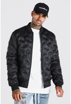 Black Geo Printed Bomber Jacket