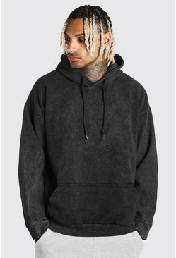 Charcoal Oversized Acid Wash Hoodie