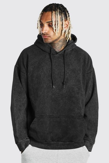Charcoal grey Oversized Acid Wash Hoodie