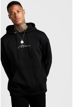 Black Oversized MAN Signature Hoodie