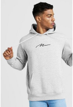 Grey marl grey Oversized MAN Signature Hoodie