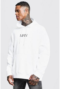 White Oversized Original MAN Print Hoodie