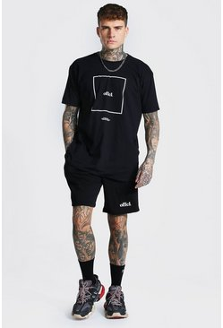 Black Oversized Offcl Box Print Tee and Short Set
