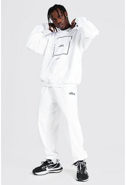 White Oversized Offcl Box Print Hooded Tracksuit