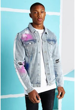 Light blue Bandana Rip & Repair Denim Jacket With Paint