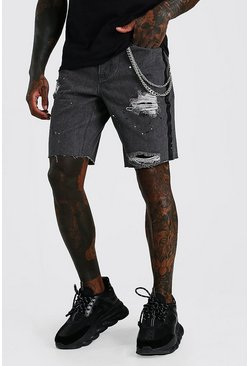 Washed black Loose Bandana Rip & Repair Denim Shorts