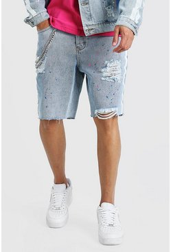 Light blue blå Loose Bandana Rip & Repair Denim Shorts