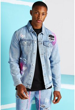 Light blue blue Rip & Repair Bandana Butterfly Denim Jacket