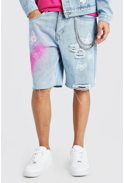Light blue blue Loose Butterfly Print Denim Shorts With Chain