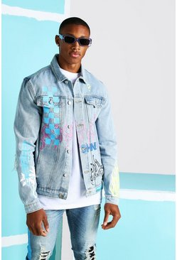 Light blue Denim Jacket With All Over Graffiti Print