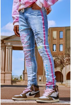 Light blue blue Super Skinny Jeans With Graffiti Print