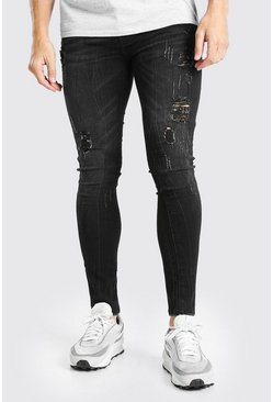 Black Super Skinny Distressed Washed Jeans