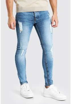 Mid blue blue Super Skinny Washed Jeans With All Over Rips