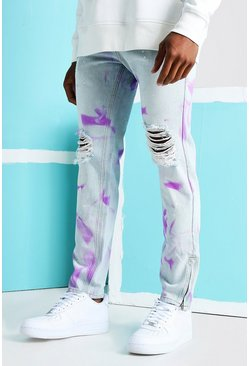Light blue blue Skinny Rigid Spray Paint Ripped Jeans