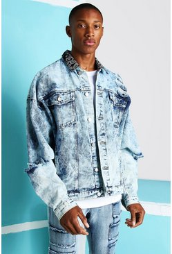 Light blue blue Oversized Bleach Bandana Ripped Denim Jacket