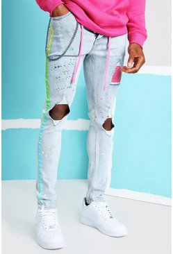 Light blue blue Super Skinny Ripped Knee Ombre Tape Jeans
