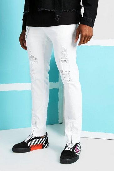 White Skinny Ankle Zip Jeans With All Over Rips