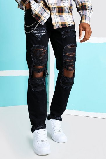 True black Skinny Rigid Bandana Rip Jeans with Chain