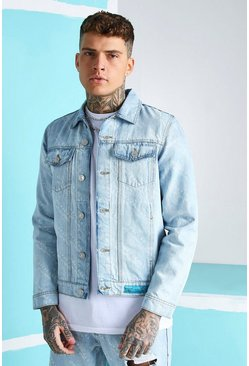 Chaqueta denim regular fit con estampado All Over MAN, Azul hielo