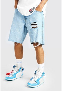 Ice blue All Over MAN Print Loose Fit Denim Short