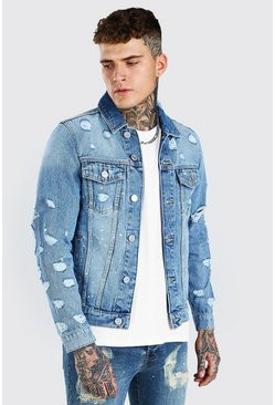 Mid blue blue MAN Official Regular Fit Back Print Denim Jacket