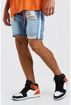Mid blue blå Loose Fit Denim Shorts With Side Tape