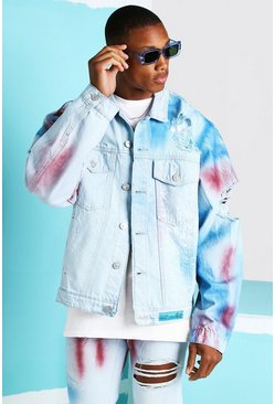 Light blue blue Oversized Spray Paint Denim Jacket