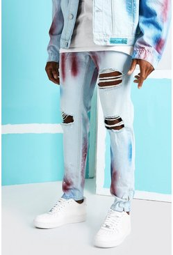 Light blue blue Skinny Rigid Busted Knee Jeans With Paint