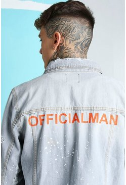 Grey Oversized MAN Official Back Print Denim Jacket