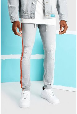 Grey grå Skinny Fit Jean With Busted Knees And Side Tape