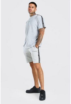 Grey marl grey Official MAN T-Shirt And Short Set With Tape