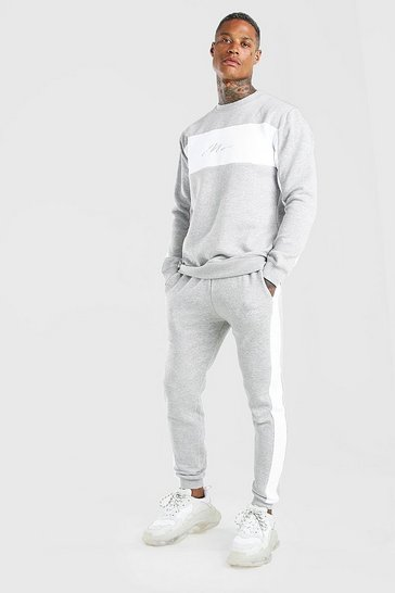 Grey marl grey Man Signature Colour Block Sweater Tracksuit