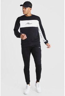 Zwart black Man Signature Colour Block Trainingspak Met Sweater