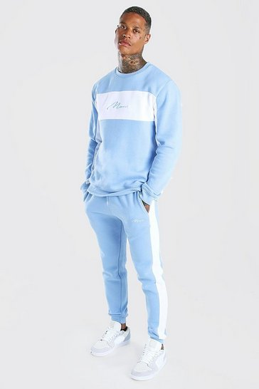 Powder blue blue Man Signature Colour Block Sweater Tracksuit