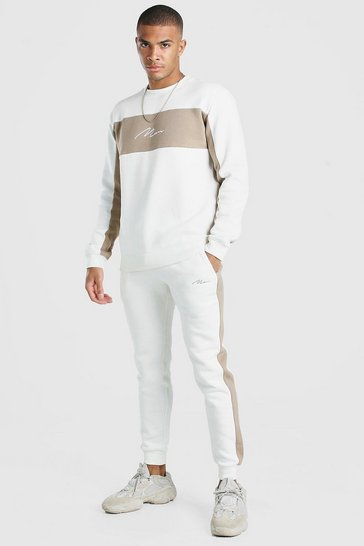 Ecru white Man Signature Colour Block Sweater Tracksuit