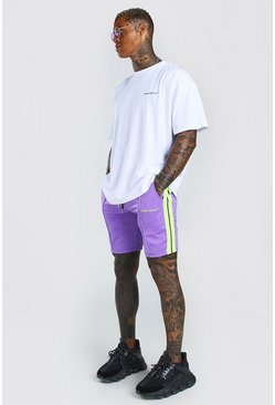Purple Oversized Printed T-Shirt And Short Set With Tape