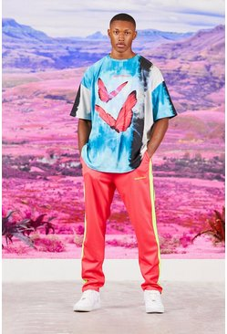 Pink Tie Dye Butterfly T-Shirt And Tricot Jogger Set