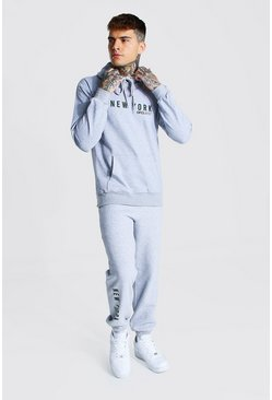Grey marl grey Man New York Print Hooded Tracksuit