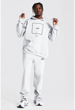Grey marl grey Oversized Offcl Box Print Hooded Tracksuit