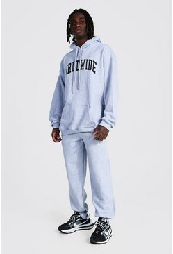 Oversized Worldwide Print Hooded Tracksuit, Grey marl gris
