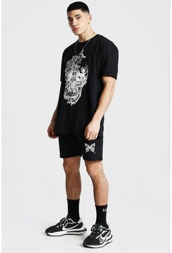 Black Oversized Butterfly Skull T-shirt and Short Set