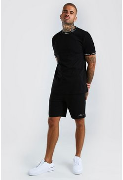 Black MAN Signature Printed T-Shirt And Short Set