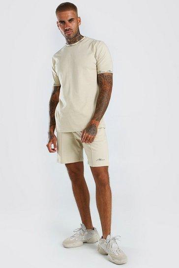 Stone beige MAN Signature T-Shirt And Pintuck Shorts Set