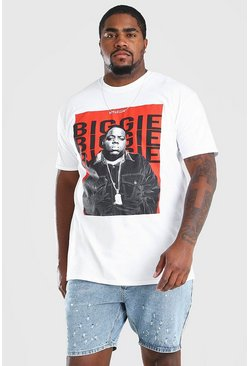 White Plus Size Red Box License T-Shirt