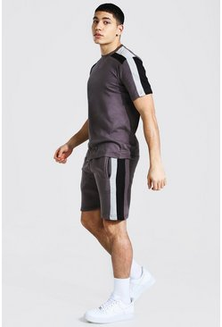 Charcoal grey Contrast Panel T-shirt and Short