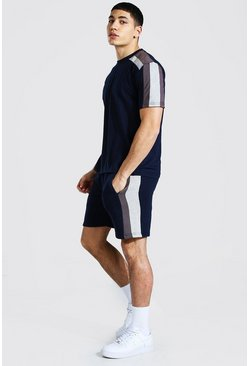 Navy Contrast Panel T-shirt and Short