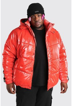Red röd Big & Tall MAN Dash High Shine Hooded Puffer